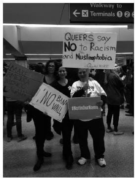 demonstrators at SFO