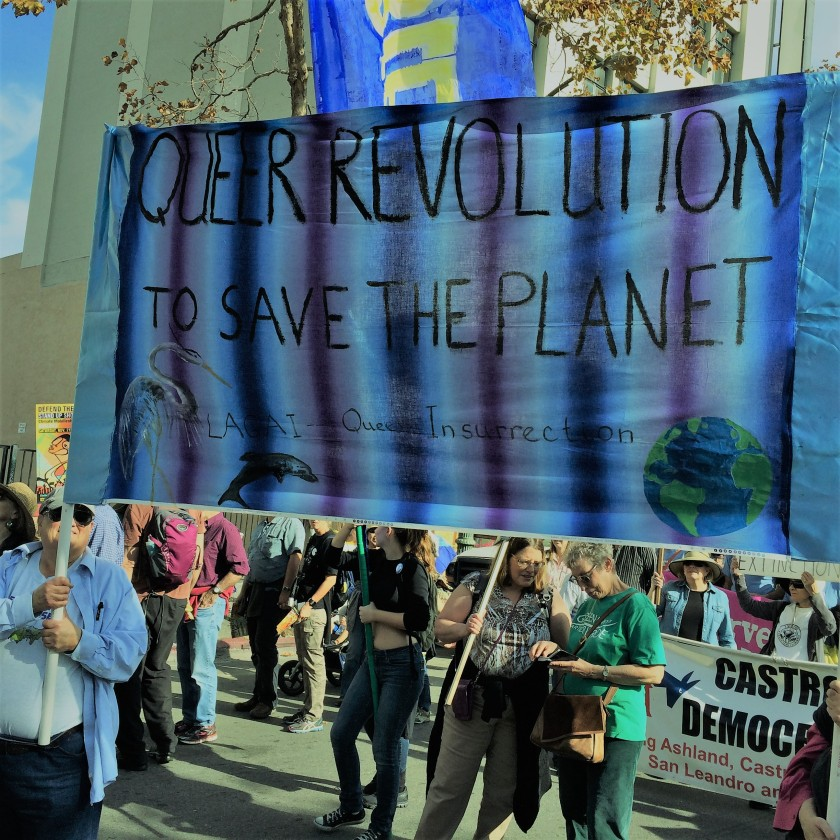 Queer Revolution to Save the Planet LAGAI banner at SF demonstration to support Standing Rock, #NoDAPL