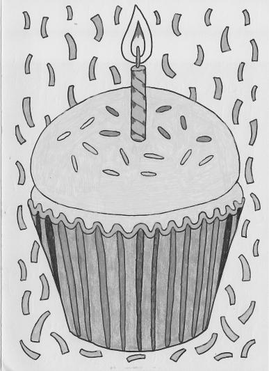 drawing of cupcake