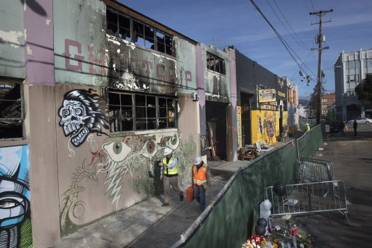 Exterior of the Ghost Ship, Oakland, after the fire. On December 2-3, 2016, 36 people were killed in the Ghost Ship fire in Oakland. This picture shows art that had been painted on the burned building