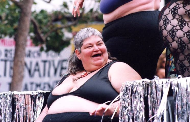 Susan McAllister, fat lesbian activist on Fat Float 1992 LGBT Freedom Day Parade. Susan McAllister died in July 2016