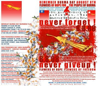 Burma poster Never Forget Never Give up August 8th