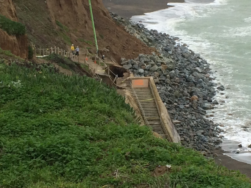 pacifica california's crumbling cliffs; owner pumps concrete into the sea to shore up cliff