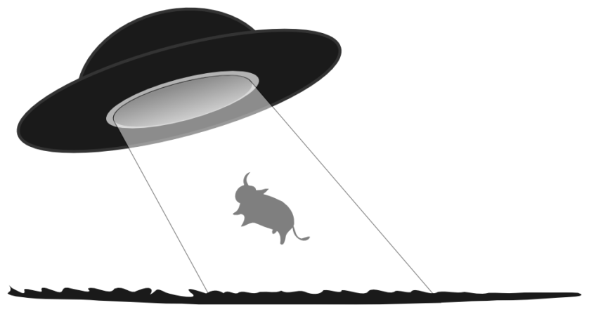 graphic of flying saucer beaming up bull