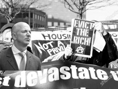 photo illustration of Bezos at Evict the Rich demo