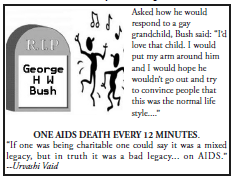 dancing on grave of GHW Bush graphic and text
