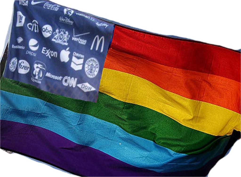 photo illustration of rainbow flag