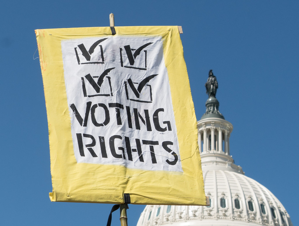photo of banner for voting rights